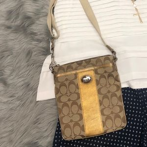 2 for $40 Coach crossbody tan/gold
